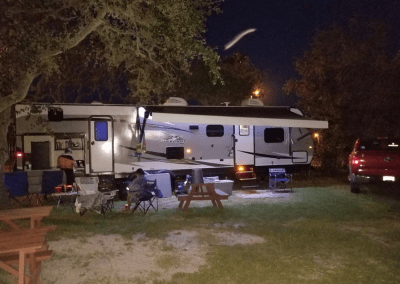 travel trailer at night