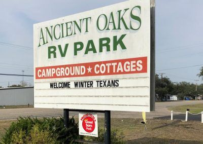 ancient oaks RV park sign
